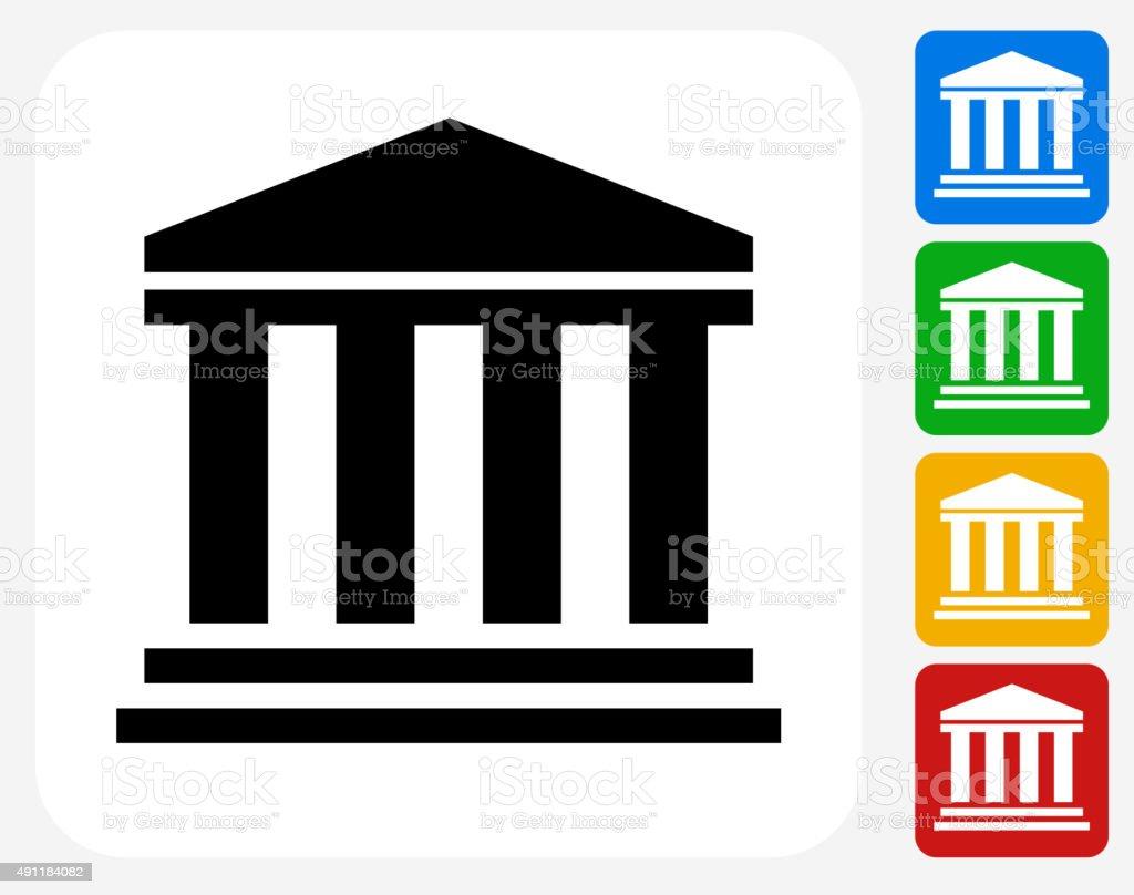 Bank Icon Flat Graphic Design vector art illustration