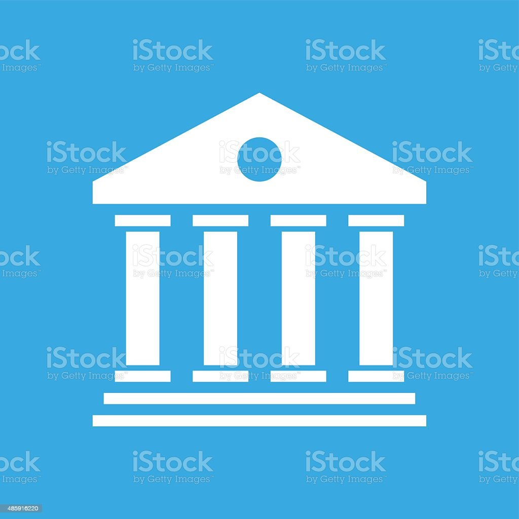Bank icon on a blue background. vector art illustration