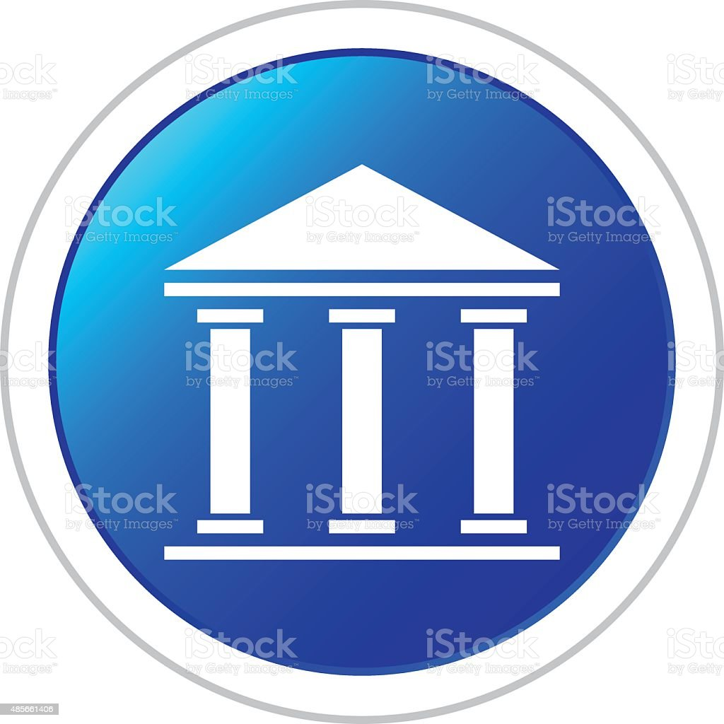 Bank icon on a round button. vector art illustration