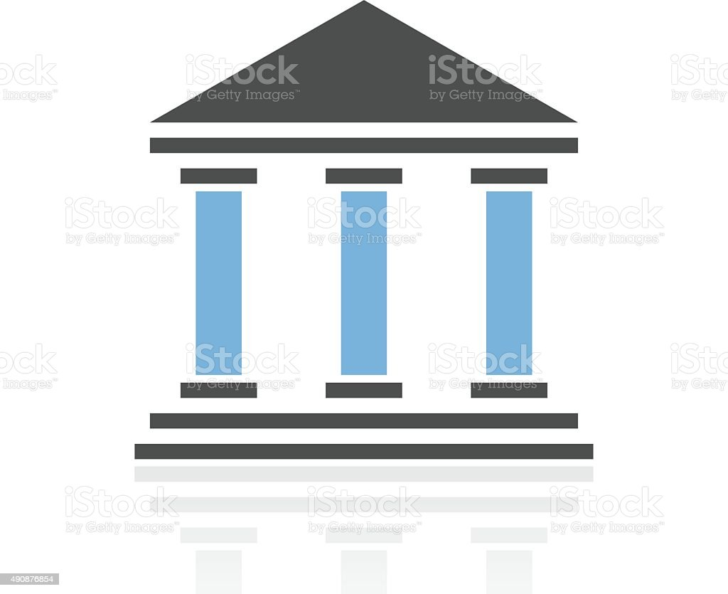 Bank icon on a white background. - RoyalSeries vector art illustration