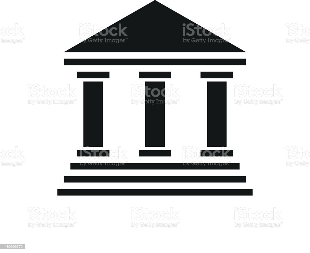 Bank icon on a white background. - Single Series vector art illustration