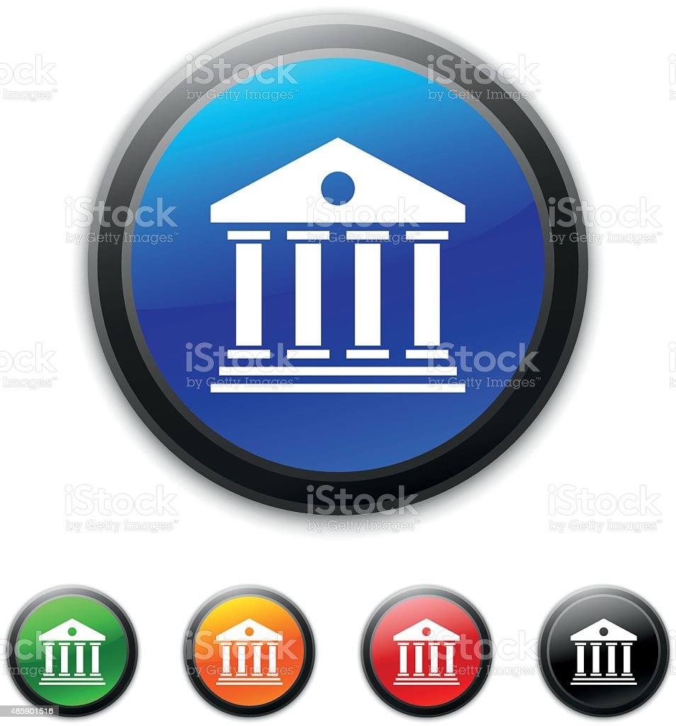 Bank icon on round buttons. vector art illustration