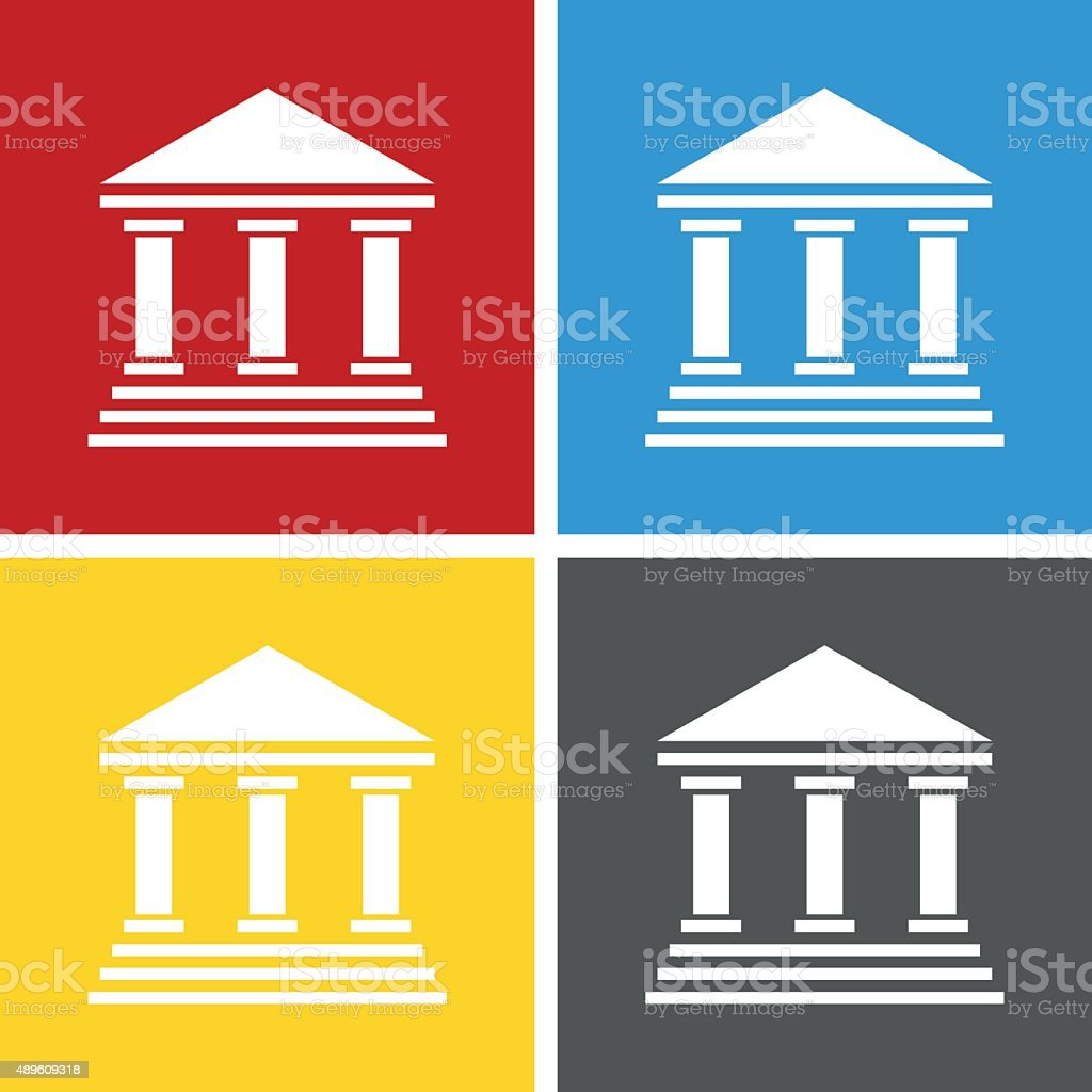 Bank icon on square buttons. - Square Series vector art illustration