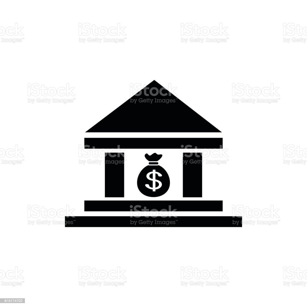 bank icon vector vector art illustration