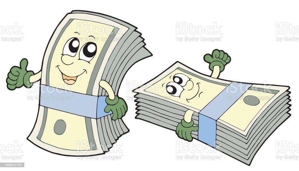 Bank of cute banknotes royalty-free stock vector art