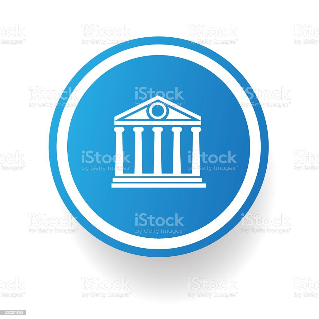 Bank symbol button on White background,vector vector art illustration