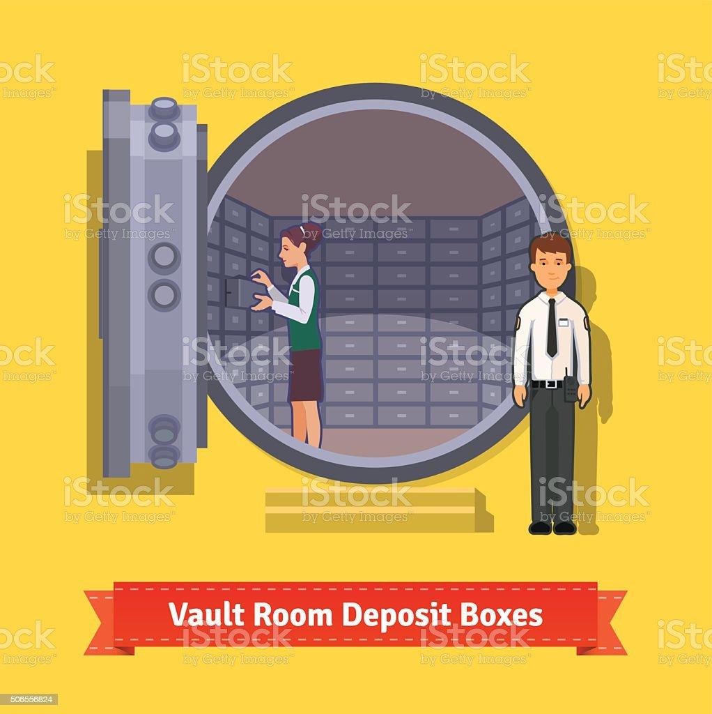 Bank vault room with a safe deposit boxes vector art illustration