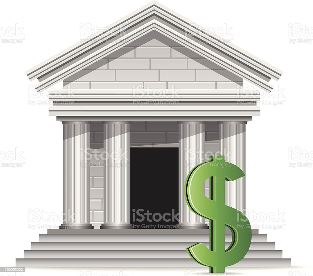 Bank with Dollar Sign royalty-free stock vector art