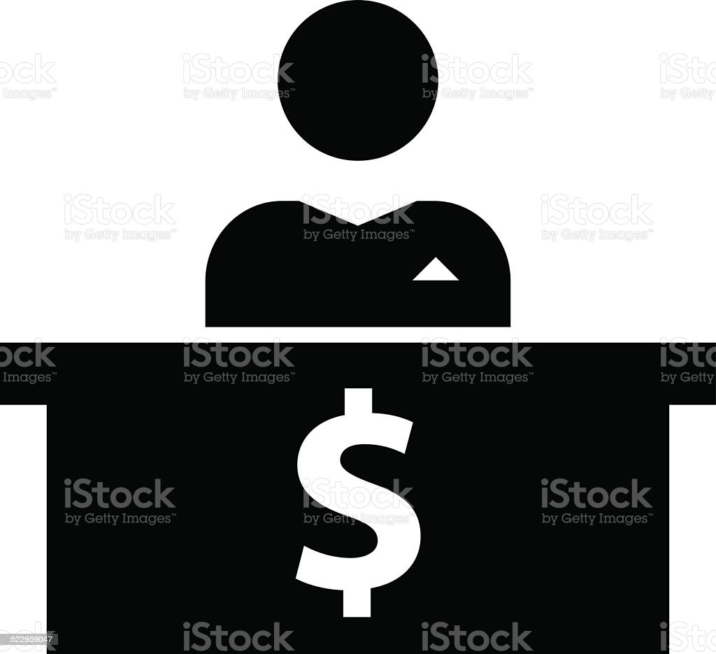 Banker at workplace icon vector art illustration