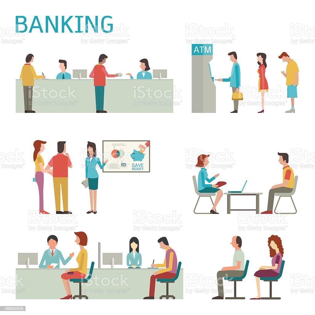 Banking activity vector art illustration