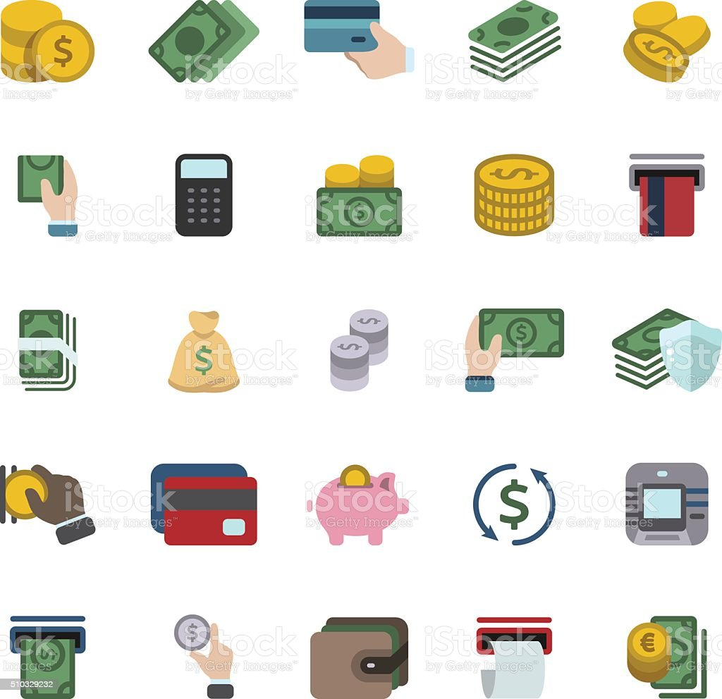 Banking and Currency icon set vector art illustration