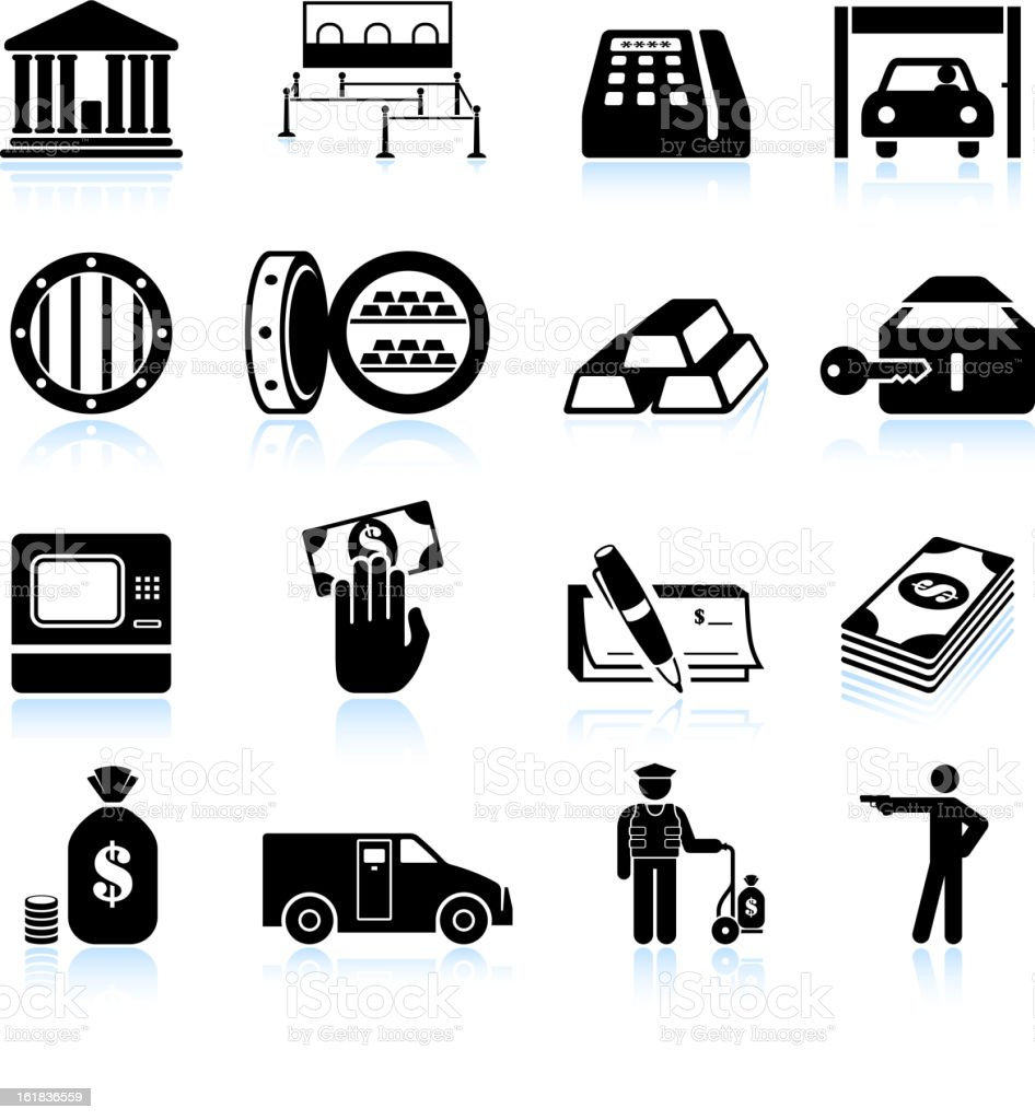banking and finance black & white vector icon set royalty-free stock vector art