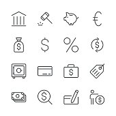 Banking and finance icons set 1 | Black Line series
