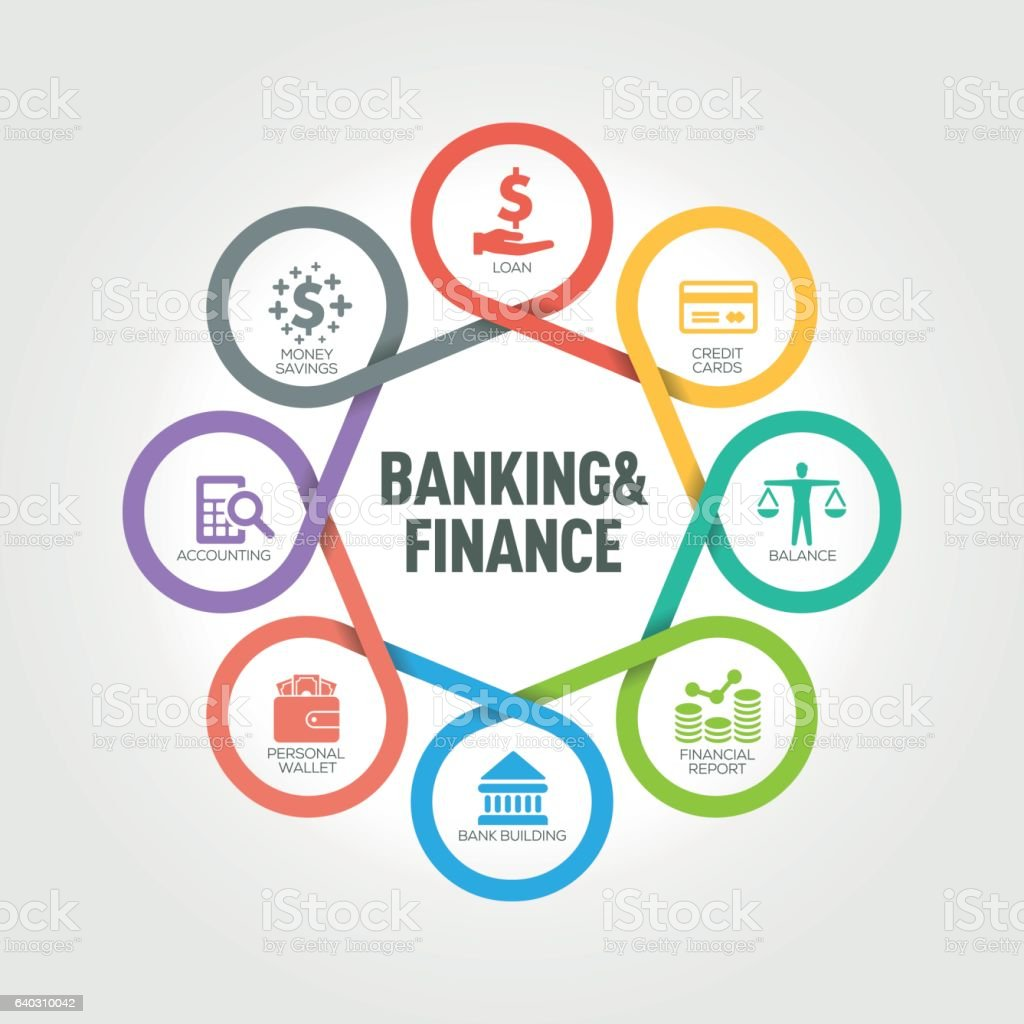 Banking and Finance infographic with 8 steps, parts, options vector art illustration