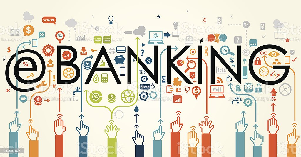 E Banking Concept vector art illustration