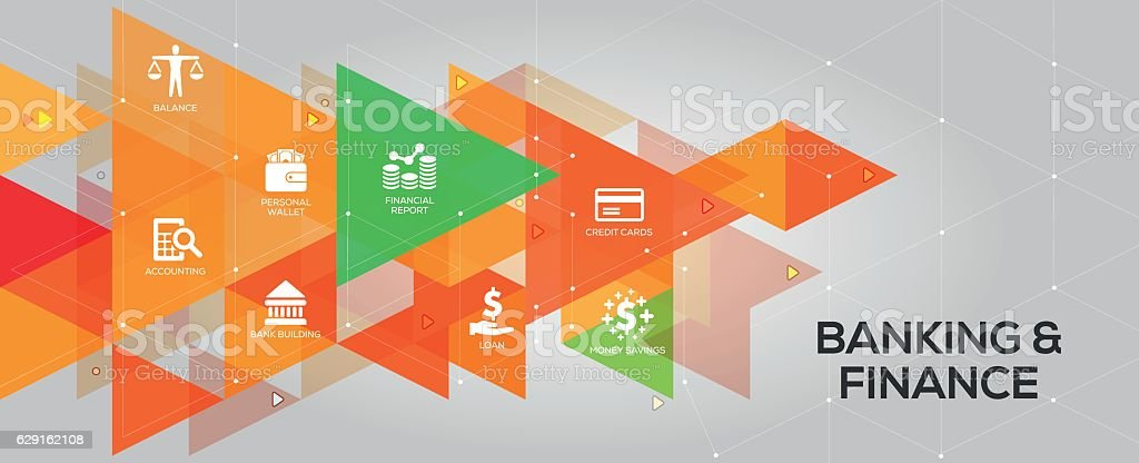 Banking & Finance banner and icons vector art illustration
