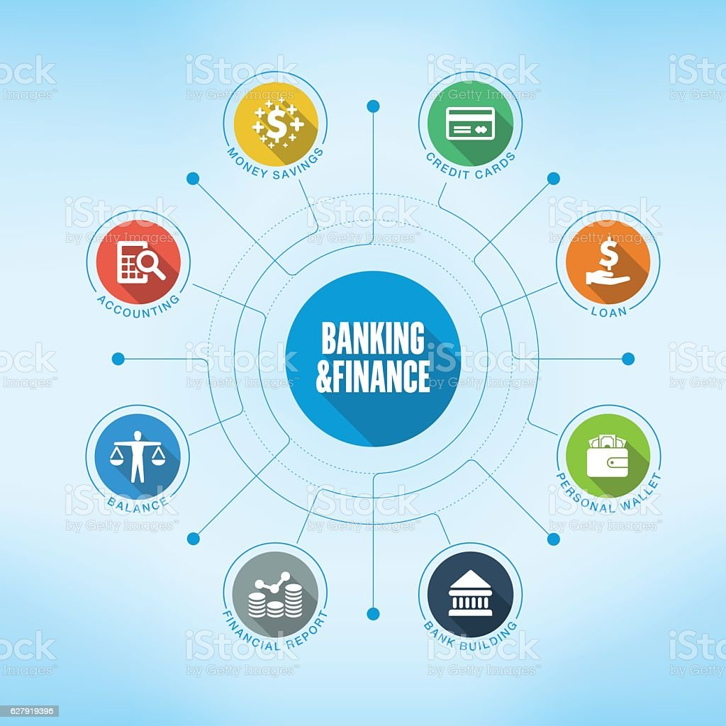 Banking & Finance keywords with icons vector art illustration