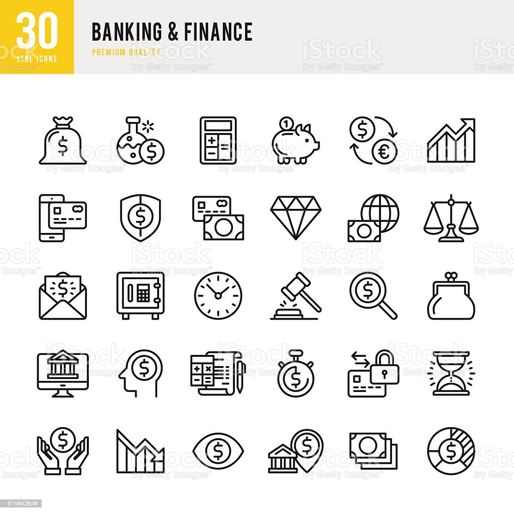 Banking & Finance - Thin Line Icon Set vector art illustration
