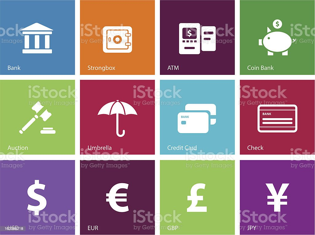 Banking icons | Metro Style royalty-free stock vector art