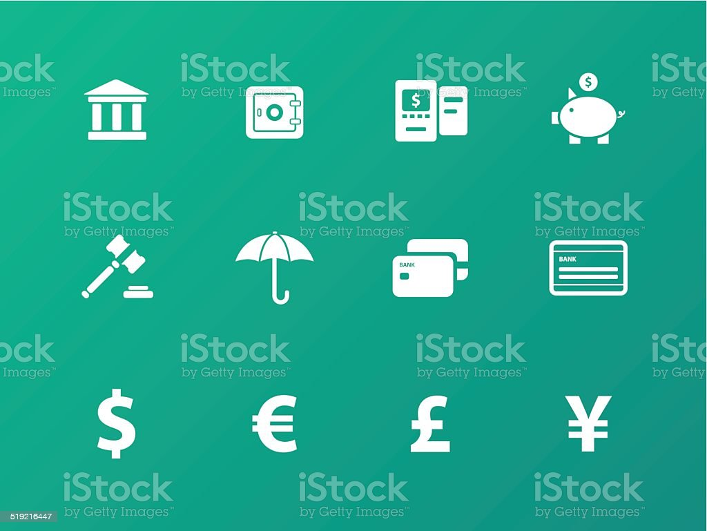 Banking icons on green background. vector art illustration
