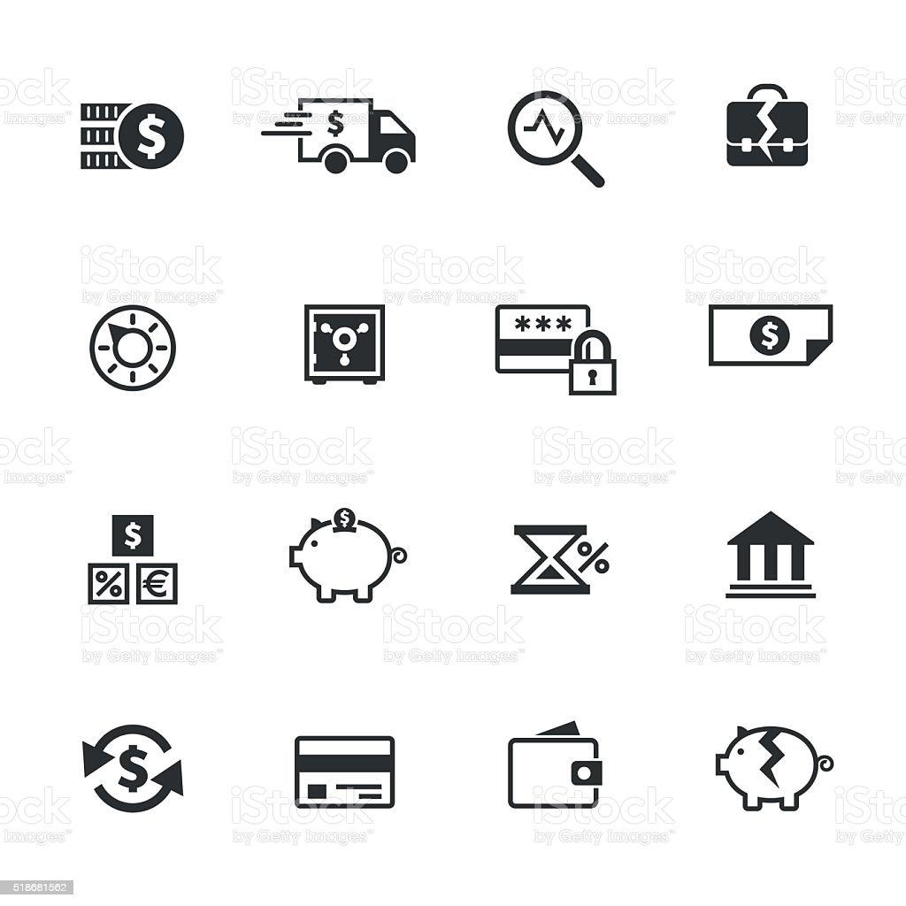 Banking icons set vector art illustration