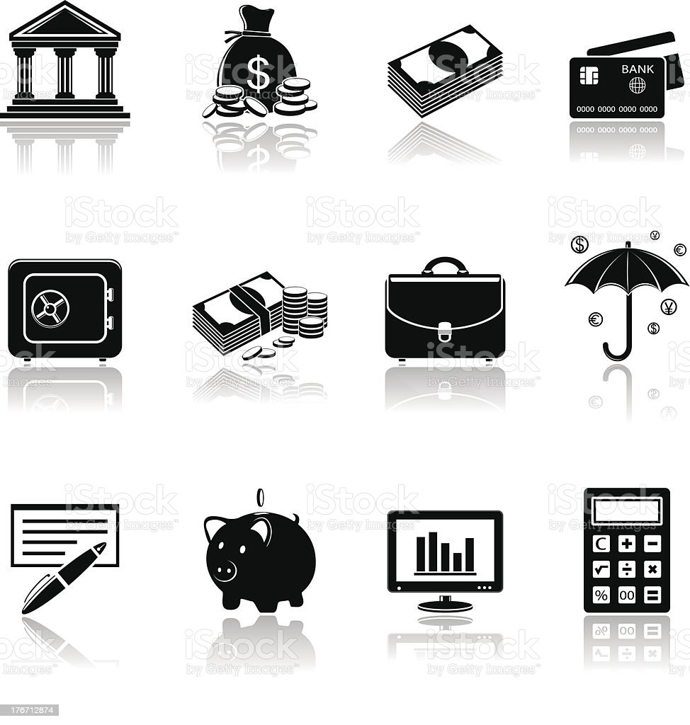 Banking icons royalty-free stock vector art