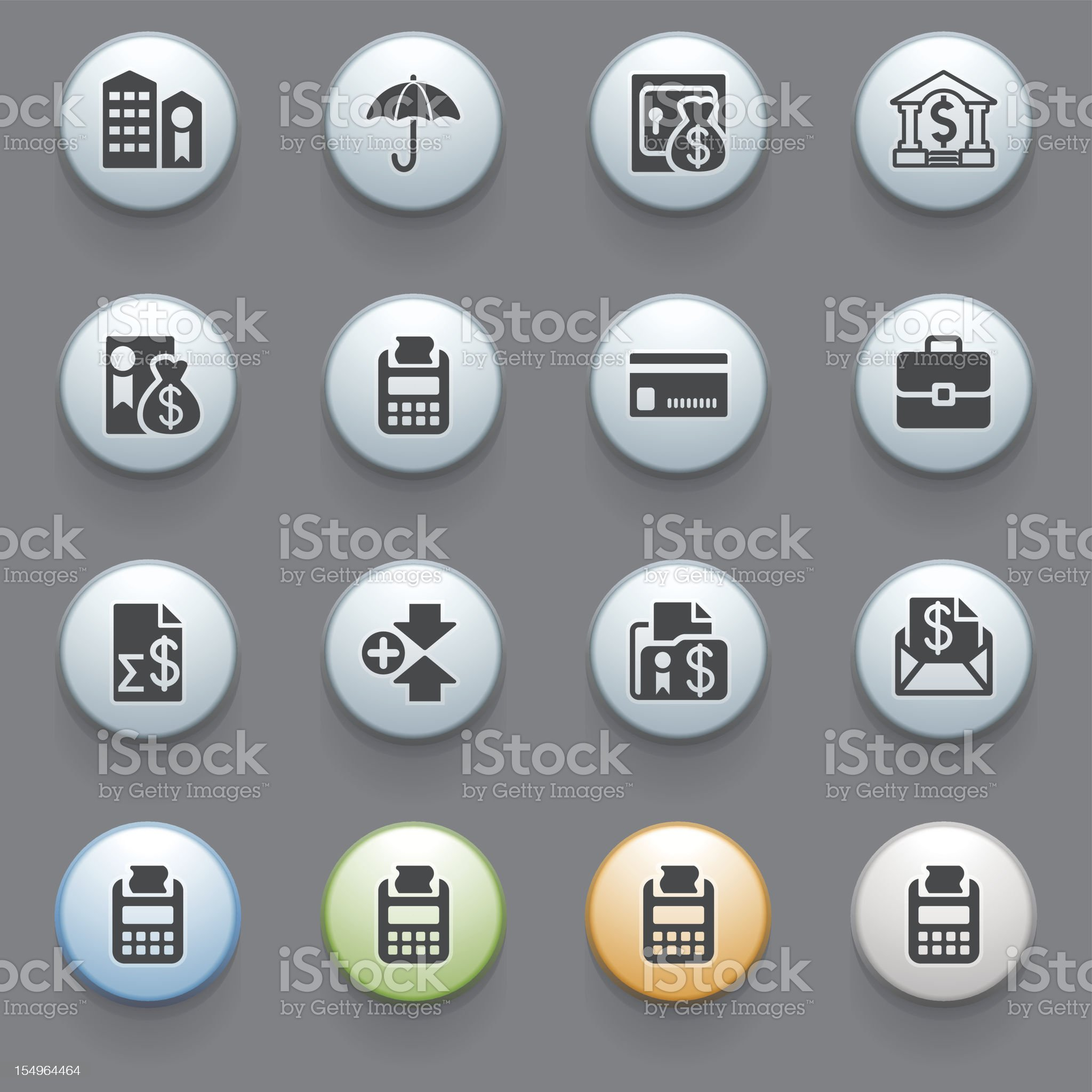 Banking icons with color buttons on gray background. royalty-free stock vector art
