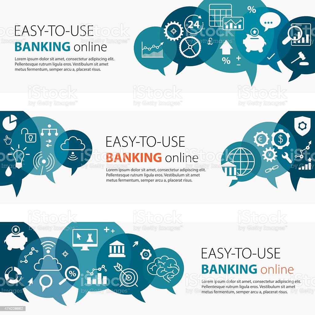 Banking Online Banners And Icon Set vector art illustration