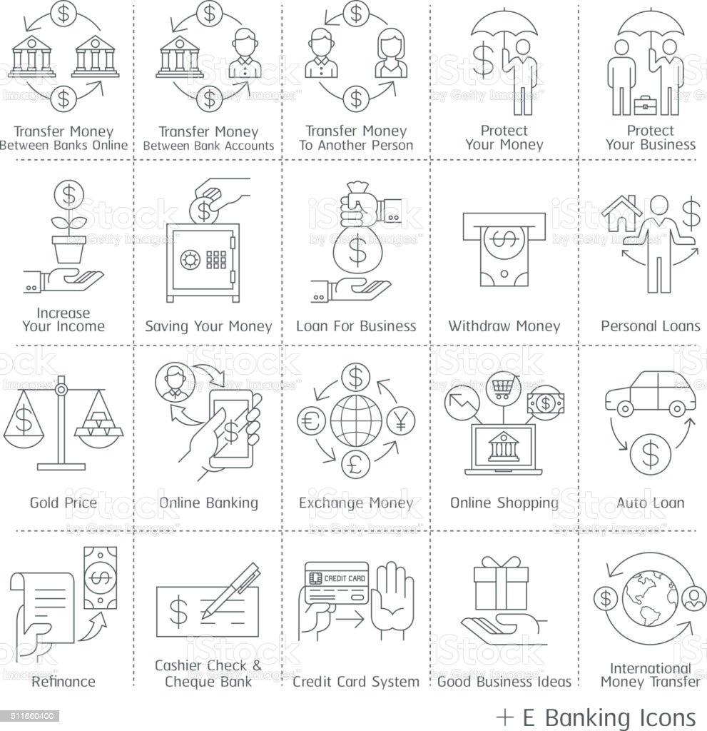 Banking service icons. vector art illustration