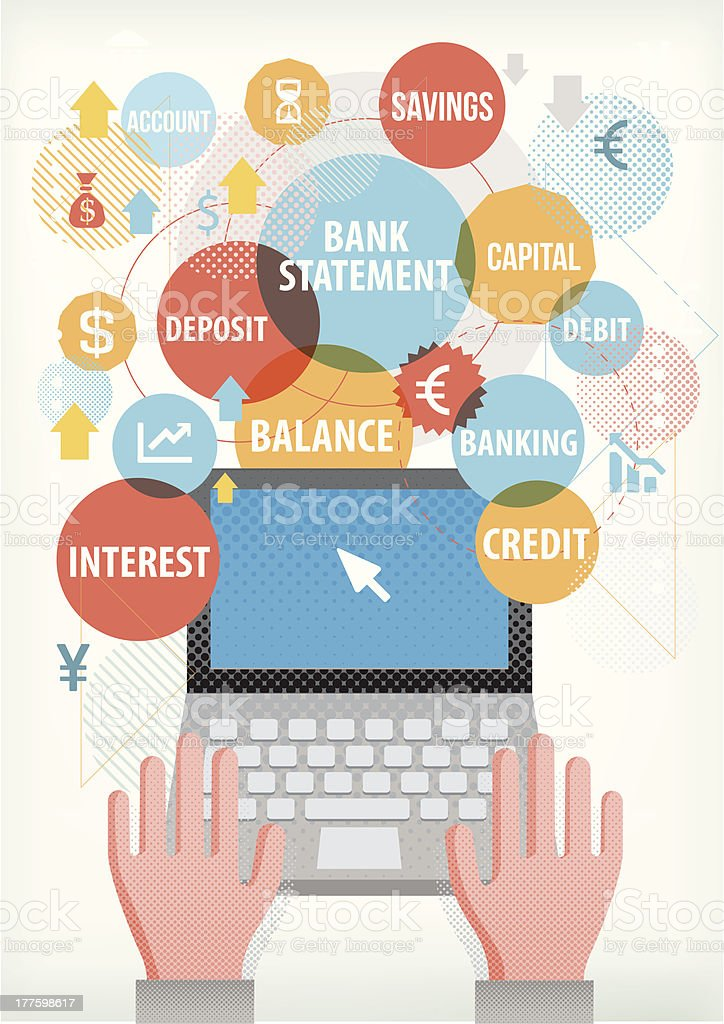 Banking terms on laptop vector art illustration