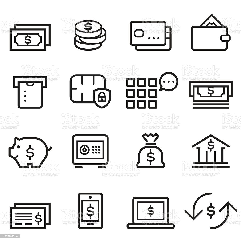 Banking Thin Line Icons vector art illustration