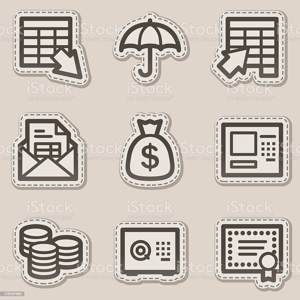 Banking web icons, brown contour sticker series royalty-free stock vector art