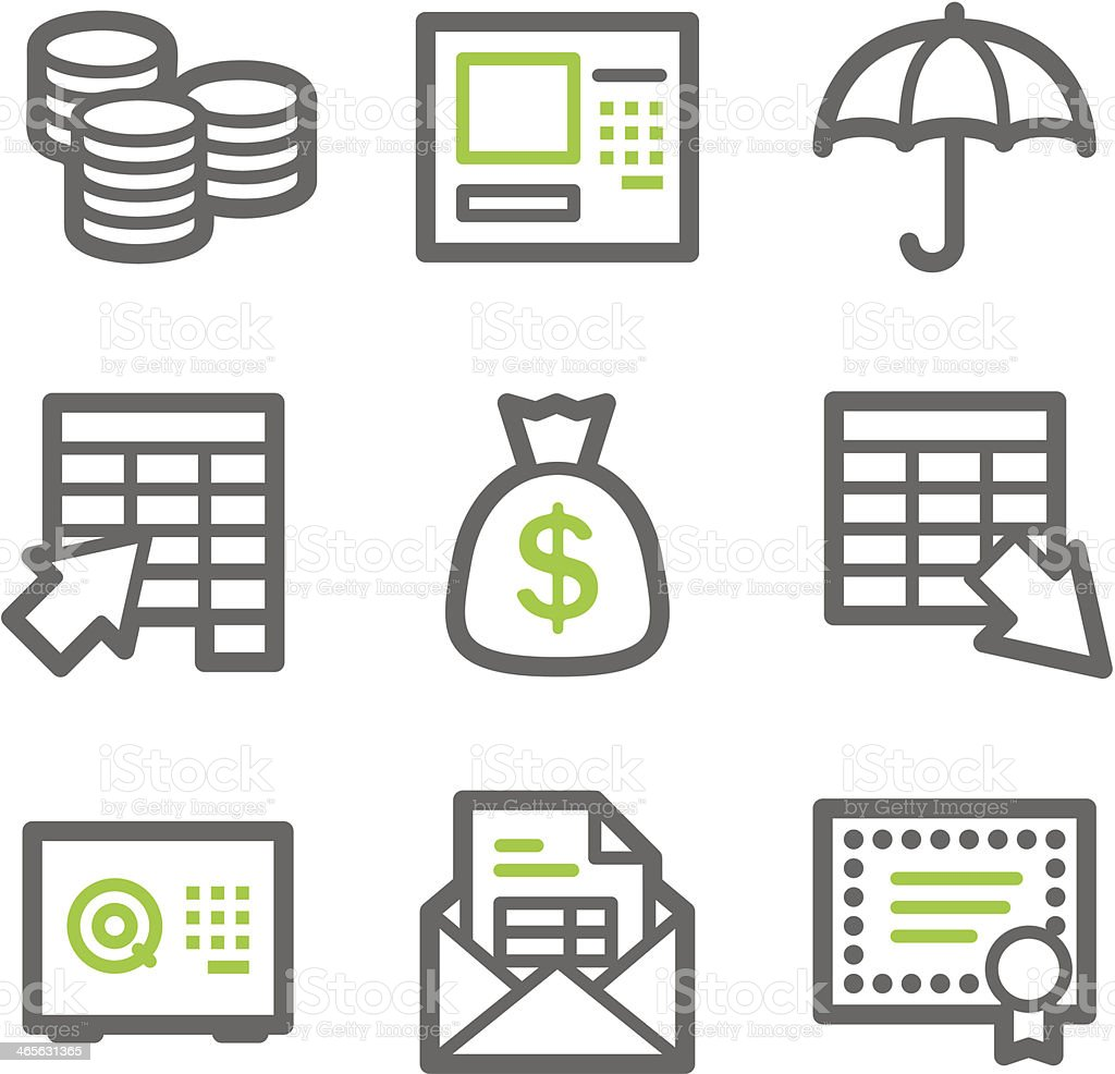 Banking web icons, green and gray contour series royalty-free stock vector art