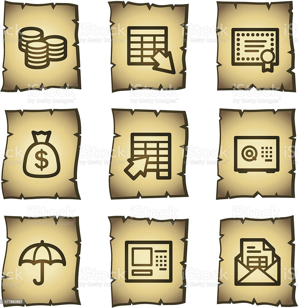 Banking web icons, papyrus series royalty-free stock vector art