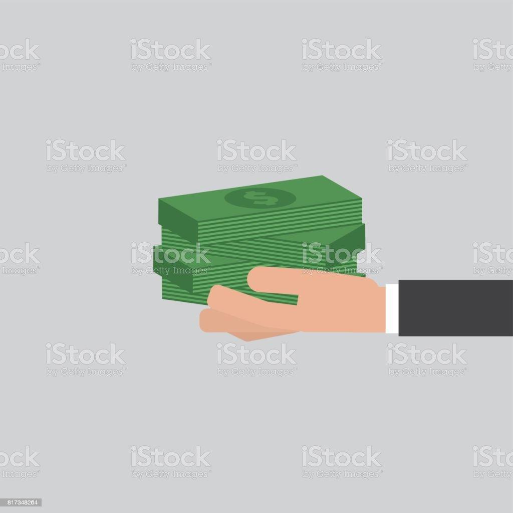 Banknotes In Hand Businessman Vector Illustration vector art illustration