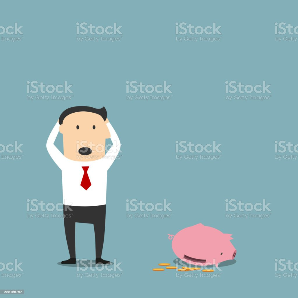 Bankrupt businessman with empty piggy bank vector art illustration