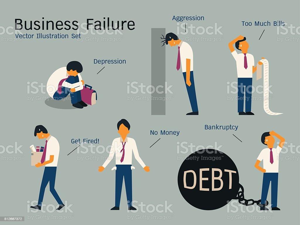 bankruptcyset vector art illustration