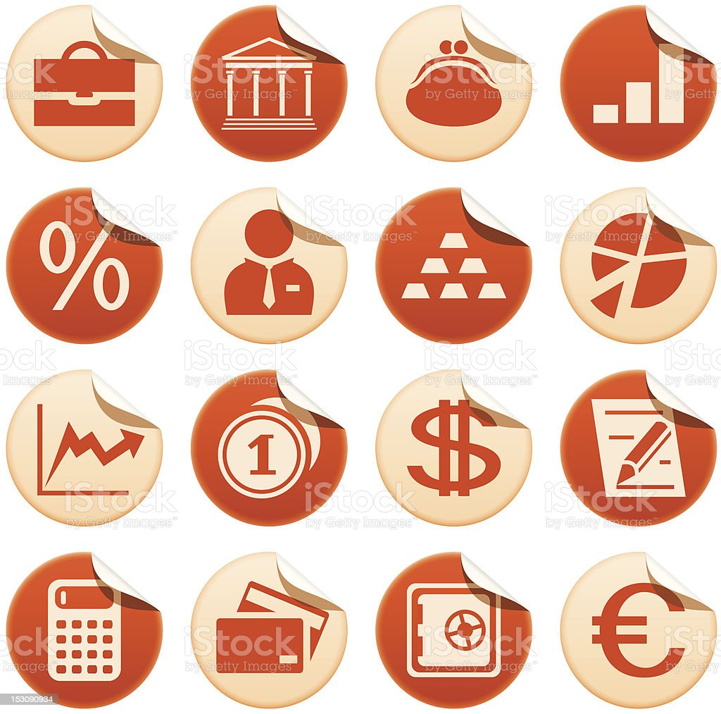 Banks and finance stickers royalty-free stock vector art