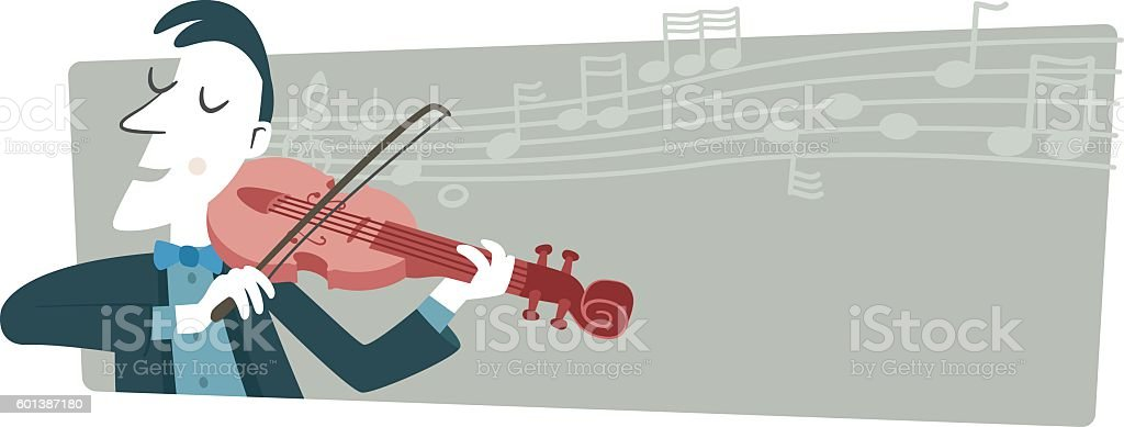 Banner, a musician playing the violin. vector art illustration