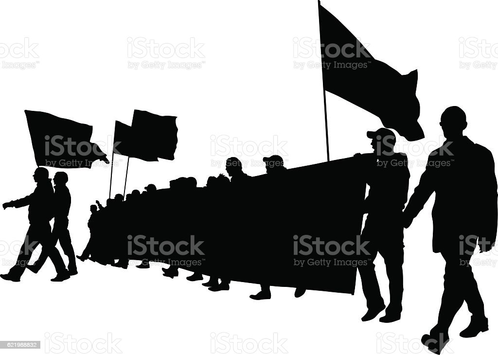 Banner and crowds vector art illustration
