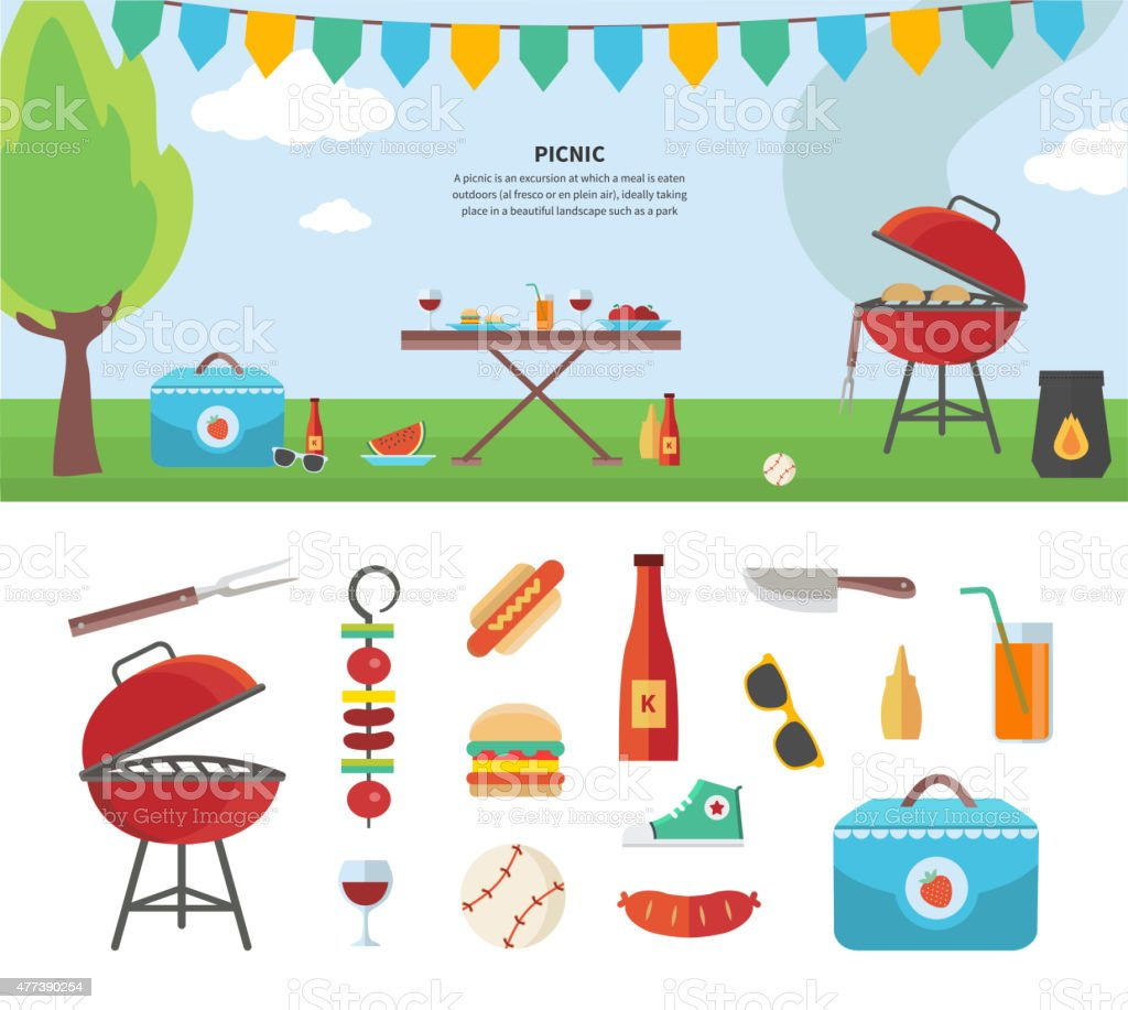 Banner and Icons of Picnic Items. Holiday Concept vector art illustration