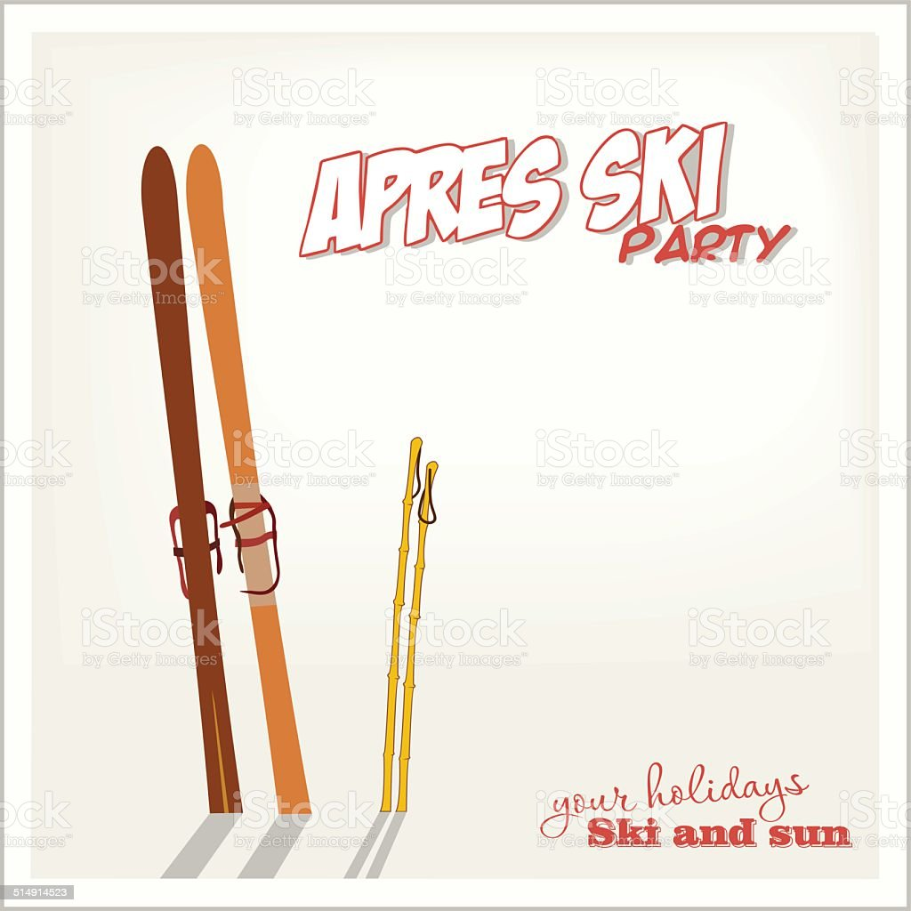 Banner Apres ski party with a equipment in the snow vector art illustration