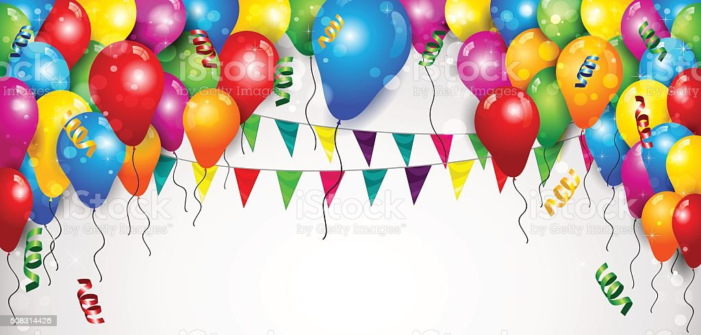 Banner Balloons and Flags vector art illustration
