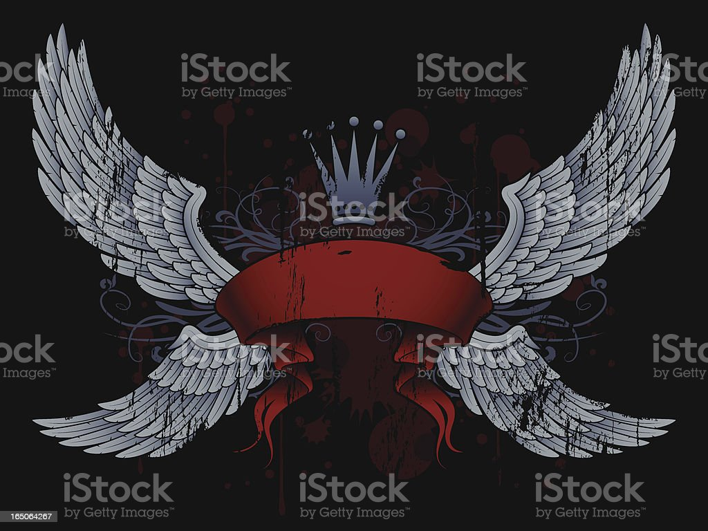 banner, crown and wings royalty-free stock vector art