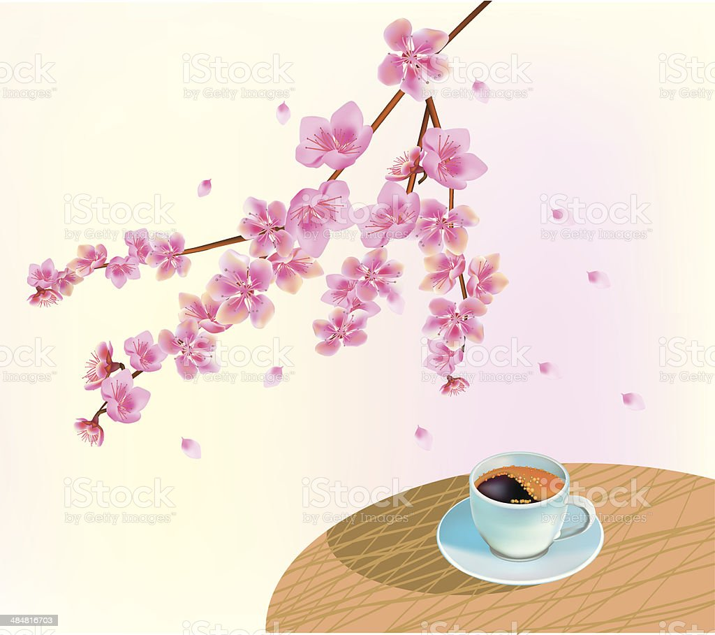 Banner cup of coffee in the morning in spring royalty-free stock vector art