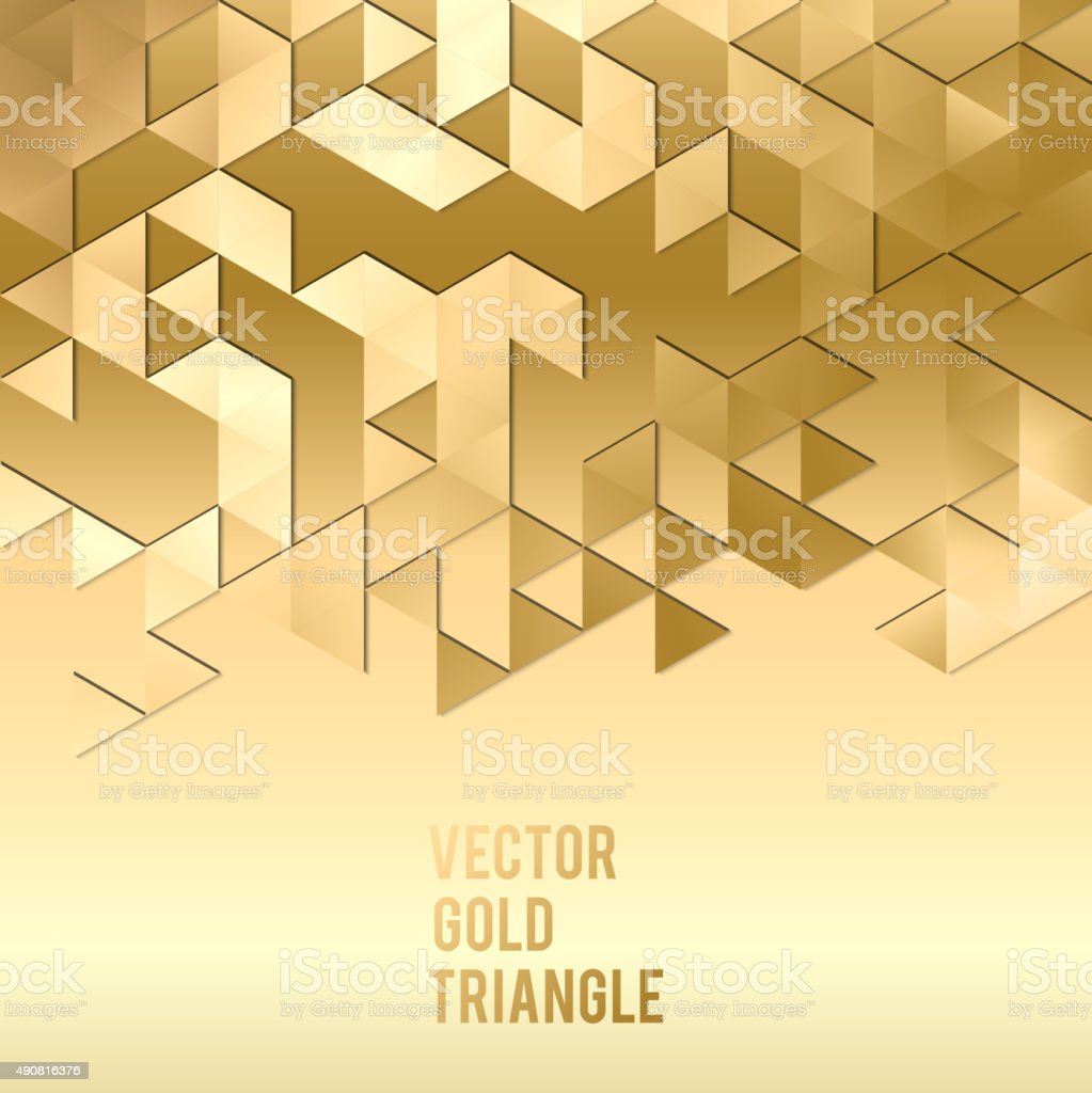 Banner design. Abstract template background with gold triangle shapes vector art illustration
