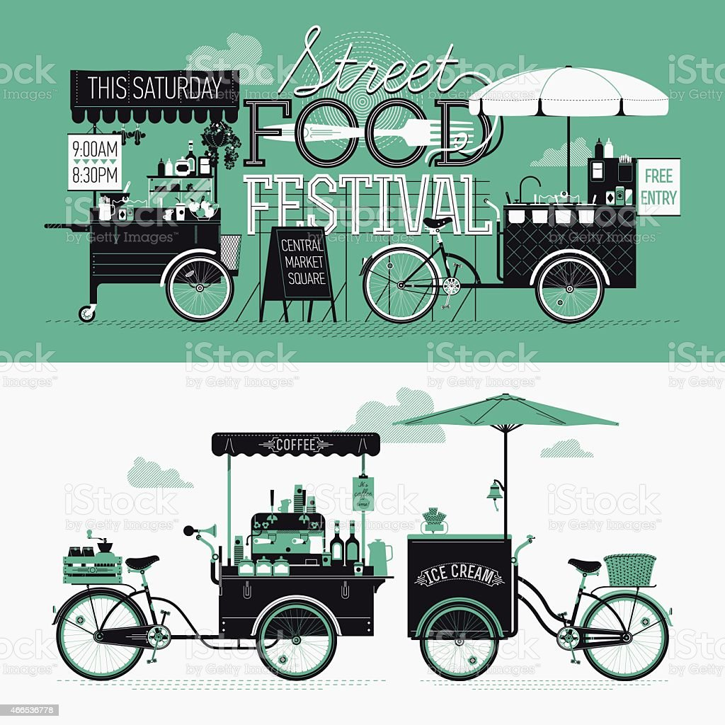 Banner design elements on Street food festival event vector art illustration