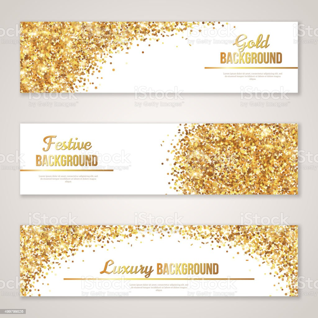 Banner Design with Gold Glitter Texture. vector art illustration