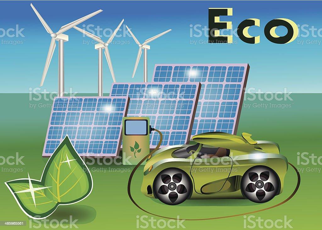 Banner Ecology car royalty-free stock vector art