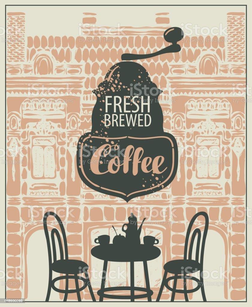 Banner for a sidewalk cafe vector art illustration